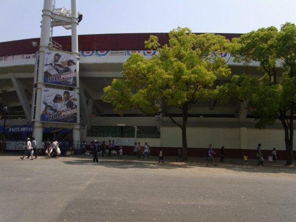 横浜公園に囲まれた横浜スタジアム
