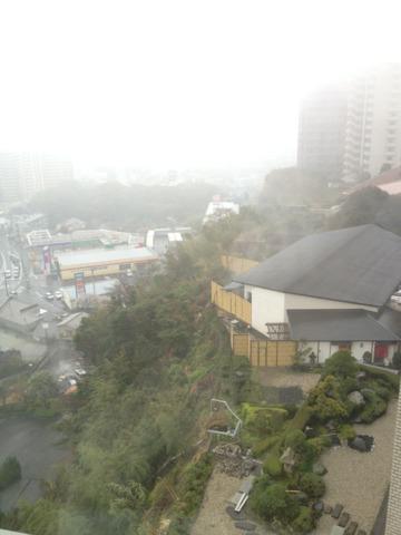 杉乃井ホテル本館 高台にあるホテルからは、別府の街から遠く海までが臨めるそうですが、霧でした、残念。