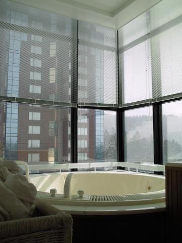 星野リゾート リゾナーレ トマム 全室スイート。リビングとベッドルームとジャグジー、サウナ、シャワールーム付きのバスルームという客室構成。トマムの極寒の雪景色を眺めながらゆったりくつろげます。