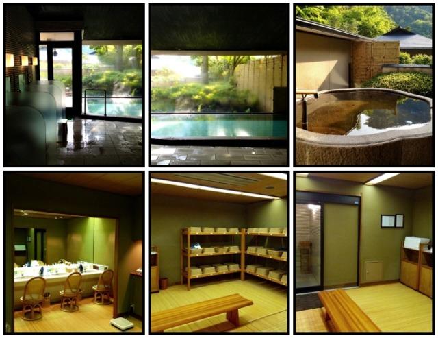 海石榴つばき 男性用の大浴場「四海波」内風呂が伊豆石、露天風呂は御影石で造られている