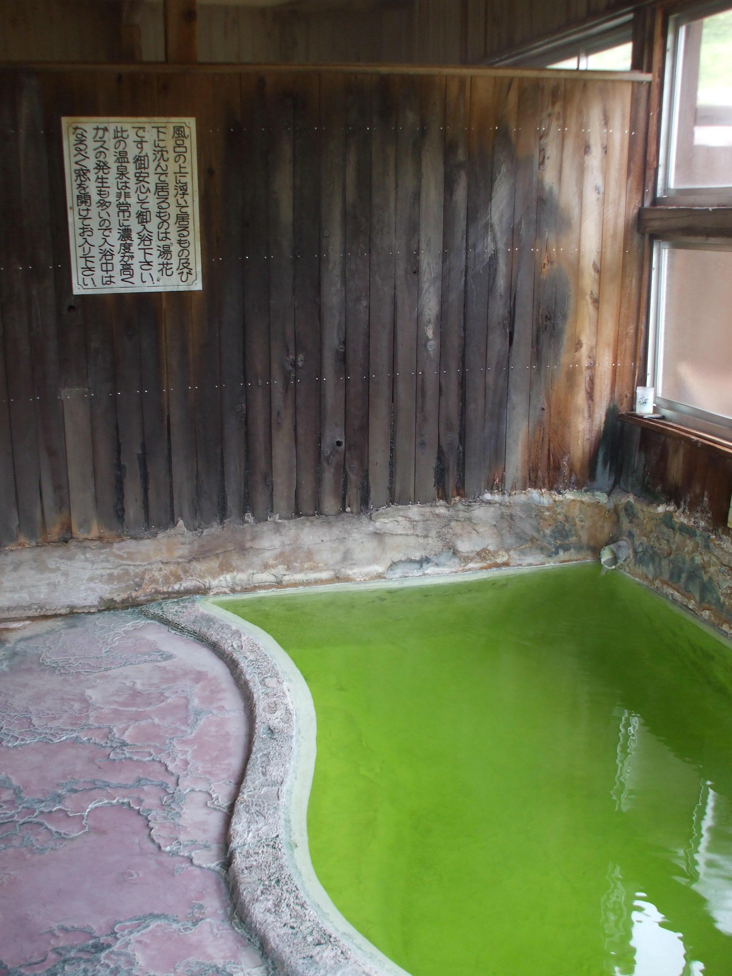 鮮やかな緑の秘湯