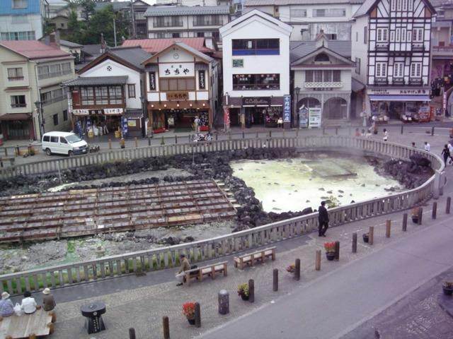 ホテル一井 窓から、草津温泉の湯畑が目の前でした!